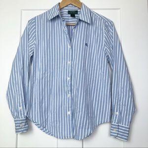 Lauren Ralph Lauren 8 Blue Striped Button Down